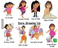 Dora The Explorer Meme - life stages of dora the explorer merry xmas 9gag