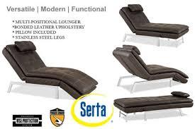 brown leather chaise lounger futon valencia chaise serta euro