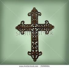 rustic metal cross scroll design hangs stock photo 35266684