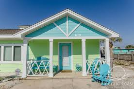 pastel blue and green cottage in pensacola beach fl florida