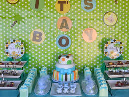 green baby shower decorations outstanding looked in green white polcadot background with blue