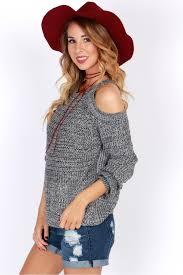 open shoulder sweater creds open shoulder sweater grey