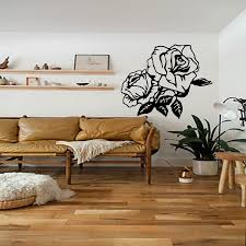 popular sticker on wall buy cheap sticker on wall lots from china dctop high quality rose flower sticker on wall vinyl removable waterproof home decor wall decals black