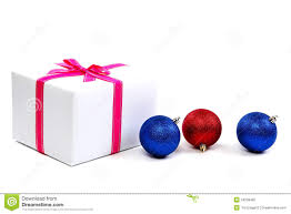 white gift box with pink ribbon and christmas balls stock