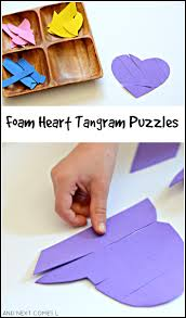 foam heart tangram puzzles and next comes l