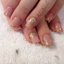 peach acrylic nails gold reverse fade with hand painted