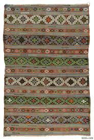 k0016267 green brown vintage balikesir kilim rug kilim rugs