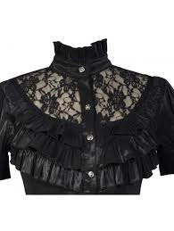 black high collar short sleeves lace womens gothic blouse