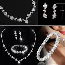 necklace with earrings set images Bridesmaid crystal necklace earrings jewelry set wedding bridal jpg