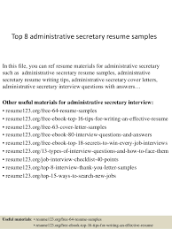 awesome collection of administrative secretary resume sample for