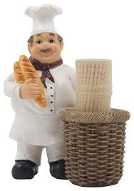 Toothpick Holders French Chef Decorative Toothpick Holder Set Traditional