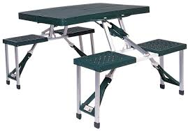 picnic tables folding with seats amazon com stansport portable picnic table green sports outdoors