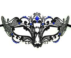 metal masquerade mask filigree swirl masquerade mask with blue crystals