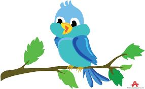 beautiful bird tweeting on tree branch free clipart design