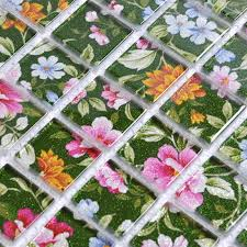 Kitchen Backsplash Glass Tile by Puzzle Mosaic Wall Tiles For Backsplash Flower Pattern Design