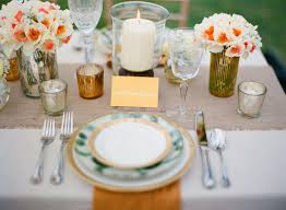 Gold Table Setting by Decorating Silver Table Runner Burlap Table Runner Gold Table