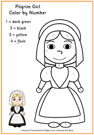 pilgrim colour by number thanksgiving colouring pages for