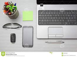 modern desk accessories modern office desk with working accessories top view stock photo