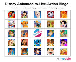 play our u0027disney animated to live action u0027 bingo game