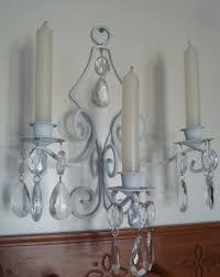 Chandelier Wall Sconce Wall Sconce Candle Holder White Metal Magnetic Hanging Crystals