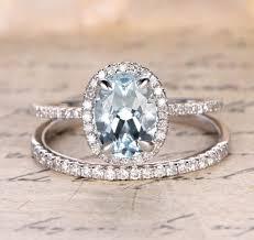 engagement jewelry sets oval aquamarine engagement ring sets pave diamond wedding 14k