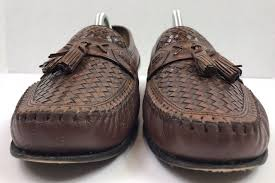 brass boot brown weave leather tassel loafers dress shoes italy