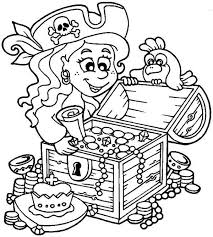 pirate treasure chest coloring kids 12204