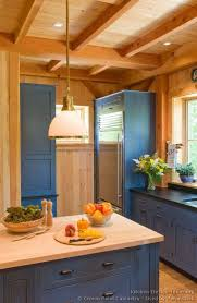 blue kitchen cabinets in cabin log home kitchens pictures design ideas log home