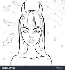 halloween background white halloween beautiful witch horns vector line stock vector 311974451