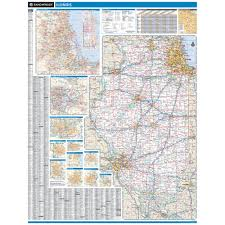 Moline Illinois Map by Rand Mcnally Illinois State Wall Map