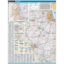 Moline Illinois Map by Rand Mcnally Illinois State Wall Map