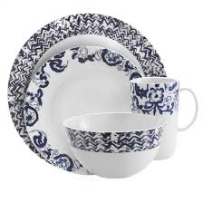 white and blue dish sets from casual to