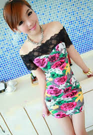 low price korean lace patchwork floral off shoulders