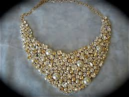 pearl crystal statement necklace images Champagne crystal and pearl wedding statement necklace the jpg