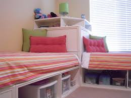 twin corner bed with open storage underneath for containers plus