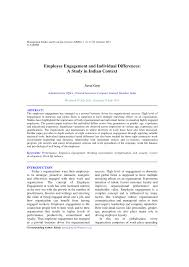 employee engagement and individual differences a study in indian