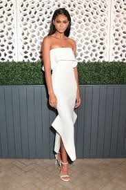 Picture Of Strapless Ruffled Asymmetric Midi Dress With Side Slits