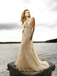 beige wedding dress aliexpress buy vintage beige lace wedding dress bridal gowns