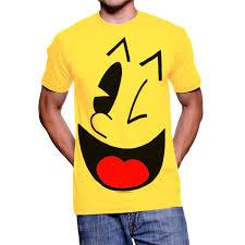amazon com pac man big face yellow t shirt tee clothing