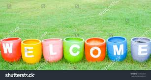 welcoming greetings concept welcome word colorful stock photo