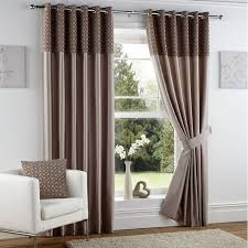 Silk Draperies Ready Made House Window With White Wall And Eyelet Faux Silk Curtains
