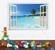 wall sticker simply adore 3d removable beach wall art stickers window frame simply adore