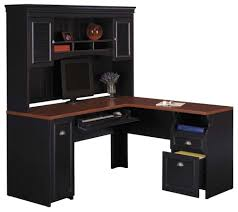 awesome black color office desk design ideas feature black