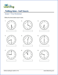 1st grade telling time worksheets free u0026 printable k5 learning