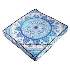 blue mandala square floor pillow indian outdoor pouf ottoman cover