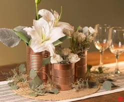 create shiny copper cans as budget friendly floral wedding