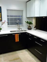 awesome black painted l shaped kitchen cabinet design in black