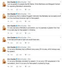 coulter blames uc berkeley for cancellation of her talk u2014 berkeleyside