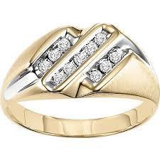 mens gold ring men s 1 4 carat t w diamond 10kt yellow gold ring walmart