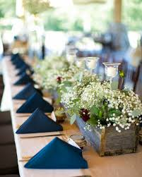 modern rustic blue brown burgundy green white centerpieces country